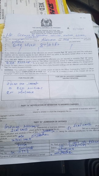 Another speeding ticket. I got 2 in Tanzania and 4 warnings !!